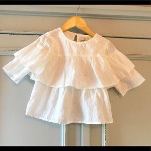 Peek Cotton Ruffle 3/4 Sleeve Top